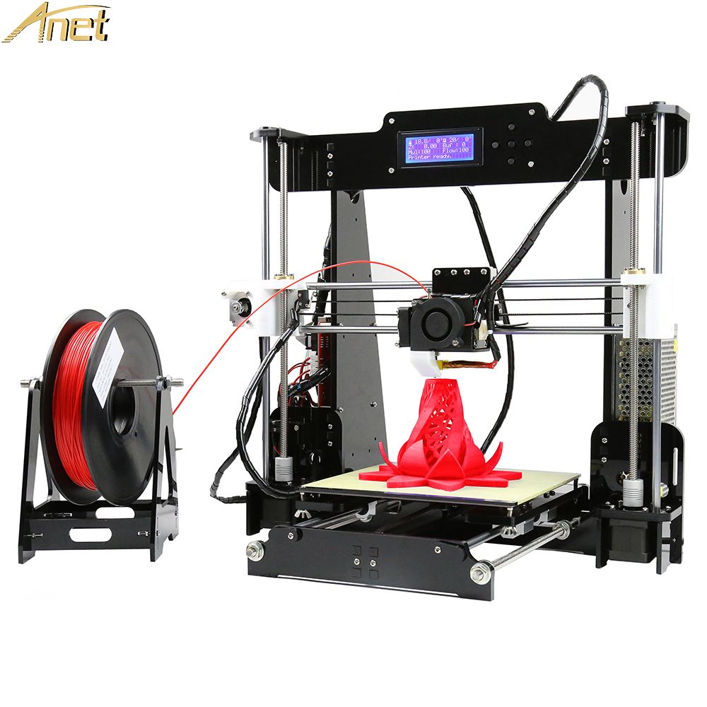 Anet A8 I3 3D Printers Full Acrylic Frame High Precision Reprap 3d Printer Kits DIY 8GB SD Card  2004 LCD with 10M Filament Gift