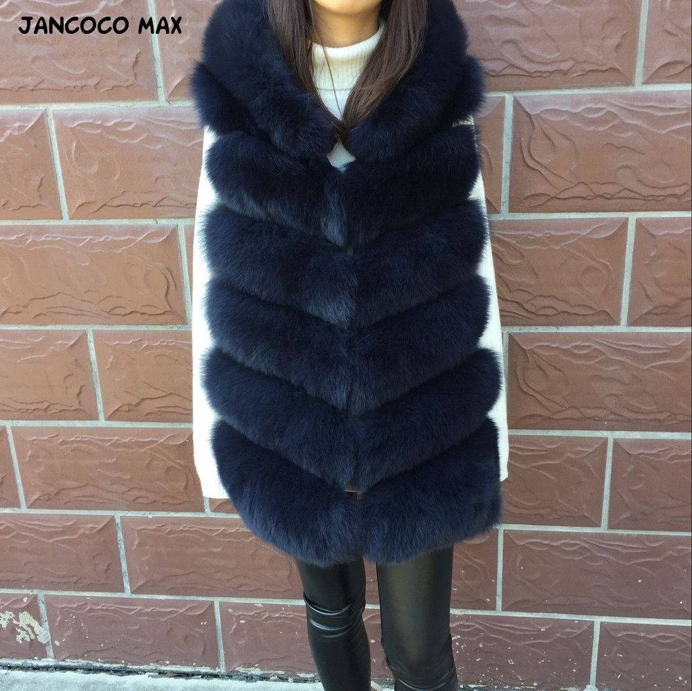 Jancoco Max 2018 New Winter Women Real Fox Fur Hooded Vest Top Quality Fashion 6 Rows Gilet S7236