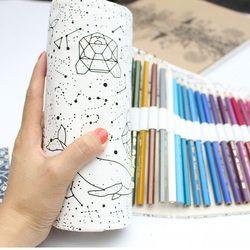 36/48/72 Holes Big Pencil Case School Canvas Roll Pouch pecncil box Constellation Pencilcase Sketch Brush pen Pencil Bag Tools