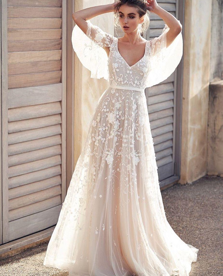 Eslieb High-end-Custom made V-ausschnitt Spitze Hochzeit kleid 2019 EINE linie Hochzeit kleider Taste Zurück Vestido de Noiva strand HA098