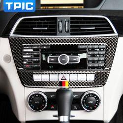 TPIC aksesoris Pesawat Kontrol Pusat CD mobil mobil Serat Karbon stiker Untuk mercedes W204 C Class 2010-2013 mobil styling