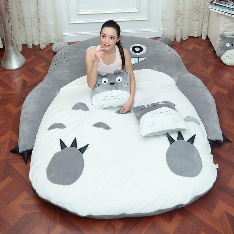 4 Size Large Totoro Single And Double Bed Giant Totoro Bed Mattress Cushion Plush Mattress Pad Tatami Cushion Beanbag matelas