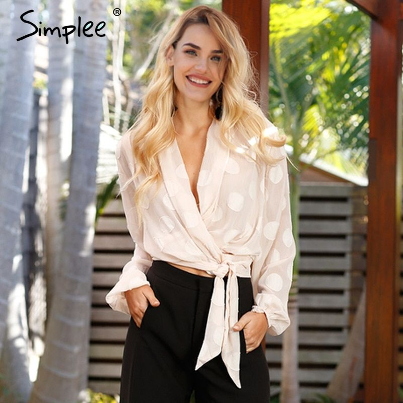 Simplee Sexy v neck polka dot chiffon blouse women Casual sash long sleeve blouse 2018 Elastic summer transparent blouse