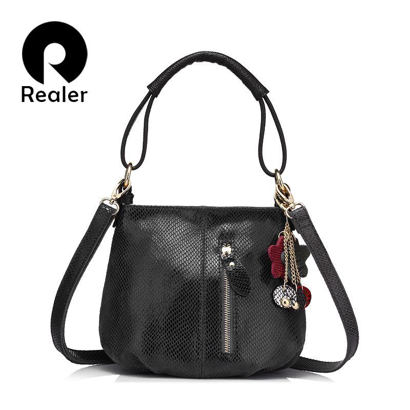 REALER brand women small handbag genuine leather bags for ladies shoulder crossbody bag female hobos messenger bag with tassels
