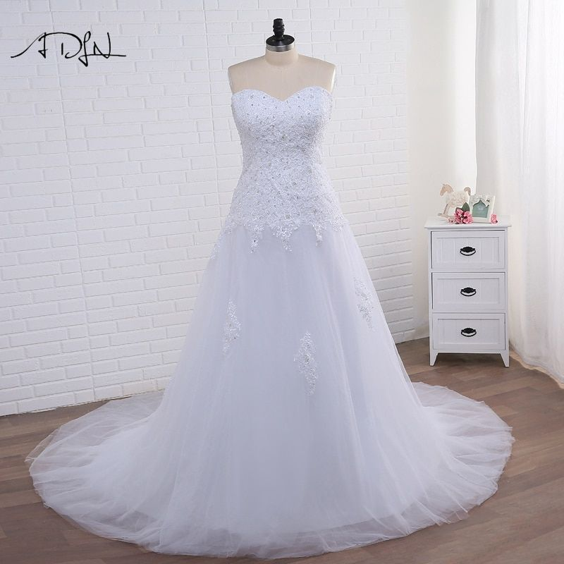 ADLN Strapless Corset Plus Size Mermaid Wedding Dress 2017 White/Ivory Tulle Applique Bridal Gown with Lace-up Vestidos de Novia