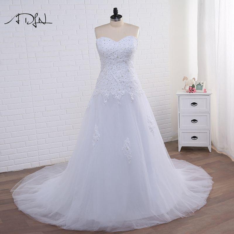 ADLN Strapless Corset Plus Size Mermaid Wedding Dress 2017 White/Ivory Tulle Applique Bridal Gown with Lace-up Vestidos de Novia