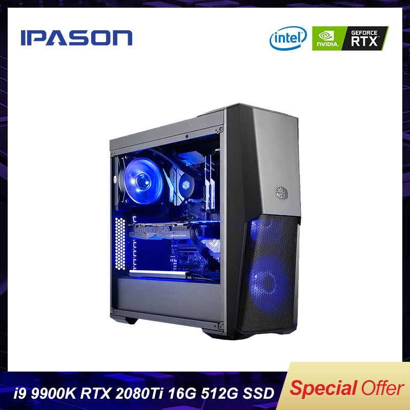 Ipason P9 Power + PLUS Gaming computer 8 core Intel i9 9900 k 512G SSD DDR4 8G 16G RAM 2080ti 11G GAMING PC