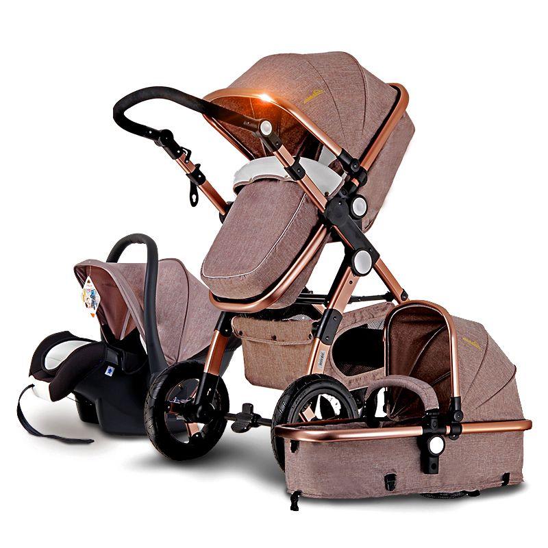 Четыре цвета высокий уровень безопасности Детские коляски, мама путешествия детские коляски, 3C Портативный складной Детские коляски 3 в 1, ...