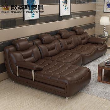 Brun heureux contemporain meubles salon importé italie faux moderne canapé en cuir coupe avec stailess acier chrome jambes