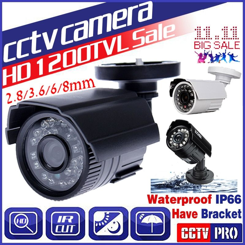 3.28BigSale Real <font><b>1200TVL</b></font> HD Mini Cctv Camera Outdoor Waterproof IP66 24Led Night Vision Small Analog monitoring security Vidicon