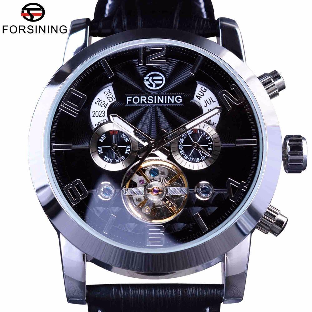 Forsining 5 Mains Tourbillon Vague De Mode Cadran Conception Multi Fonction Affichage Hommes Montres Top Marque De Luxe Automatique Montre Horloge