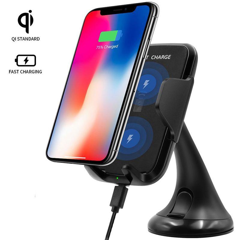 Einstellbare Qi Drahtlose Auto Ladegerät Telefon Halterung Schnelle Lade Für Samsung Galaxy Note8 S6 S7 Rand S8 Plus iPhone8 plus X
