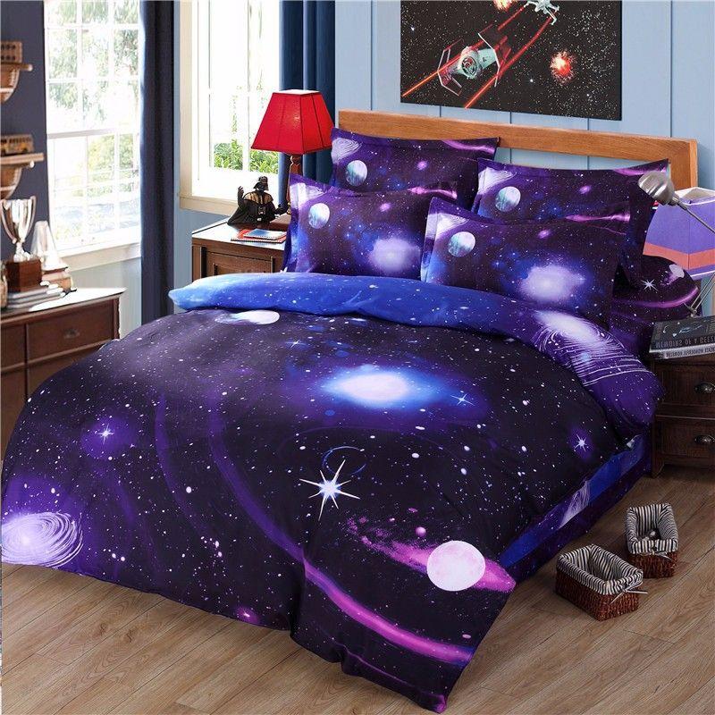 Galaxy ensembles de literie 3D universel roi reine Twin 3d linge de lit ensembles 100 taie d'oreiller en coton couvre-lit ensembles de literie moins de $50