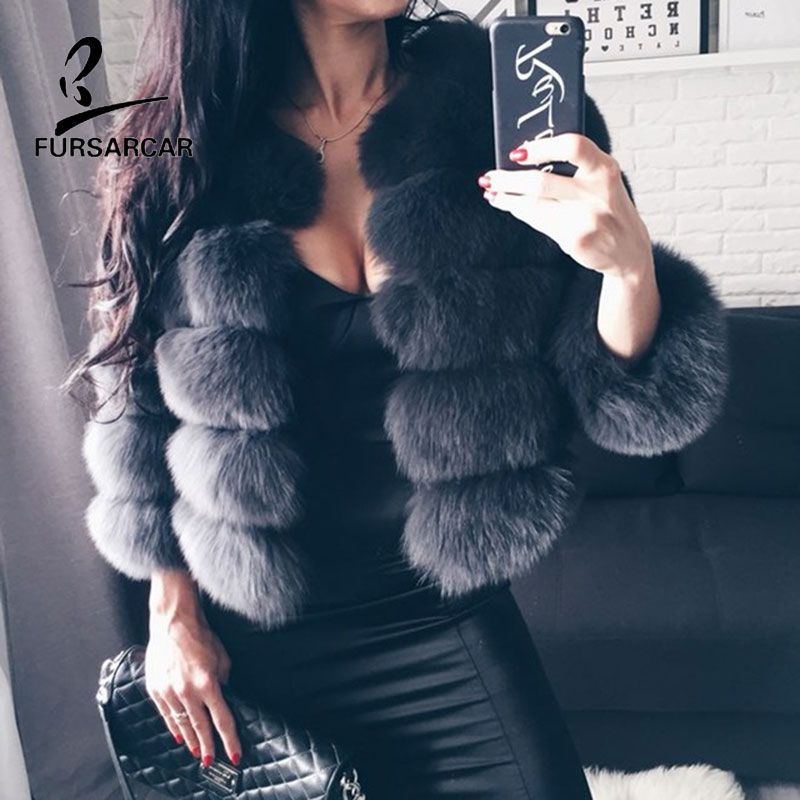 FURSARCAR 2018 NEW Real Fox Fur Coat Genuine Leather Short Jacket Natural Fox Fur Overcoat Winter Warm Women Fur Coat