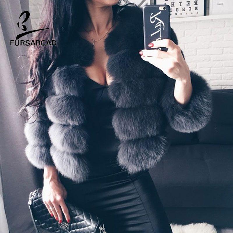 FURSARCAR Echtpelz Jacke Mantel Fuchspelz Echtem Leder Mantel hohe Qualität Kurze Fuchspelz Mantel Winter Warme Frauen Pelz mantel