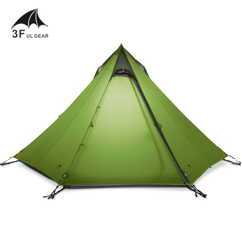 3F UL GEAR Ultralight Outdoor Camping Teepee 15D Silnylon Pyramid Tent 2-3 Person Large Tent Waterproof Backpacking Hiking Tents