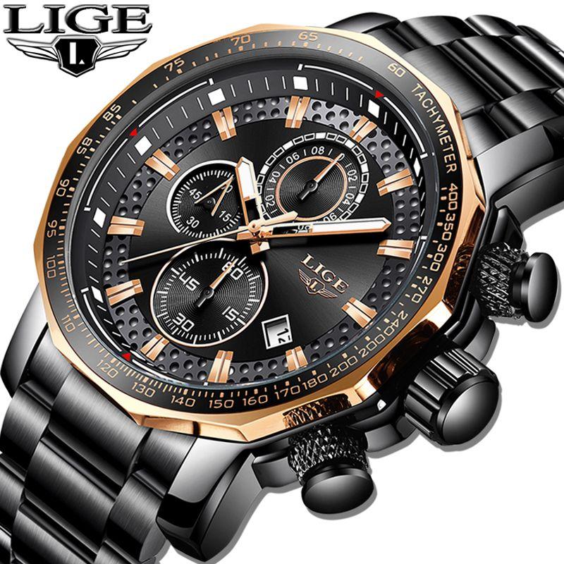 2019 Top Marke LIGE Neue Sport Chronograph Männer Uhren Luxus Voller Stahl Quarz Uhr Wasserdichte Große Zifferblatt Uhr Relogio Masculino