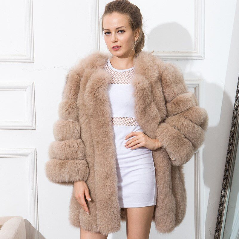 CNEGOVIK Hot sell short womens fur coats colored real fox fur coat new stripe fashion 80CM large size
