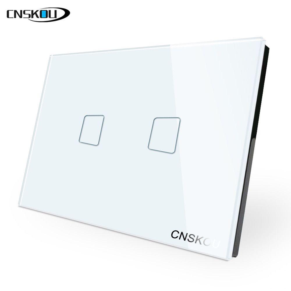 Cnskou US Standard 2 Gang 1Way interrupteur tactile mural blanc noir cristal panneau de verre interrupteur intelligent maison fabricant