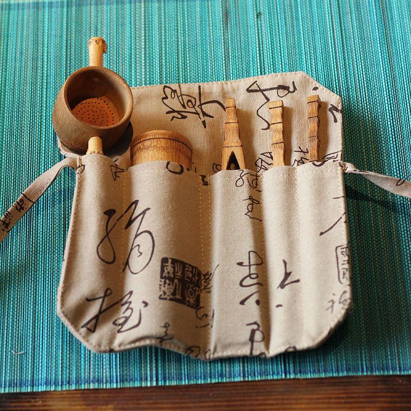 Натуральный Бамбук 5 шт. Чай набор инструментов включает игла ложка клип ситечко для чая старинные ручной кунг-фу чай аксессуары подарок