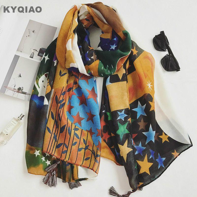 KYQIAO Mujeres bufanda de dibujos animados 2017 niñas mori estilo Japonés fresco lindo kawaii largo estrella gato imprimir bufanda del silenciador del cabo
