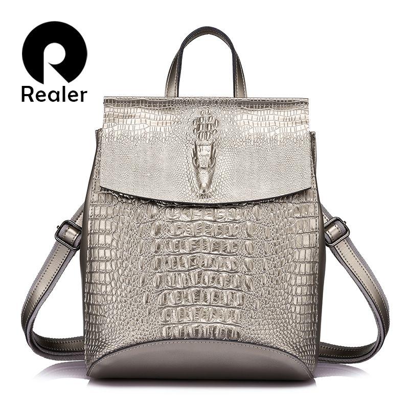 REALER women backpack split leather backpacks for girls teenagers school bag ladies shoulder bag crocodile prints large backpack