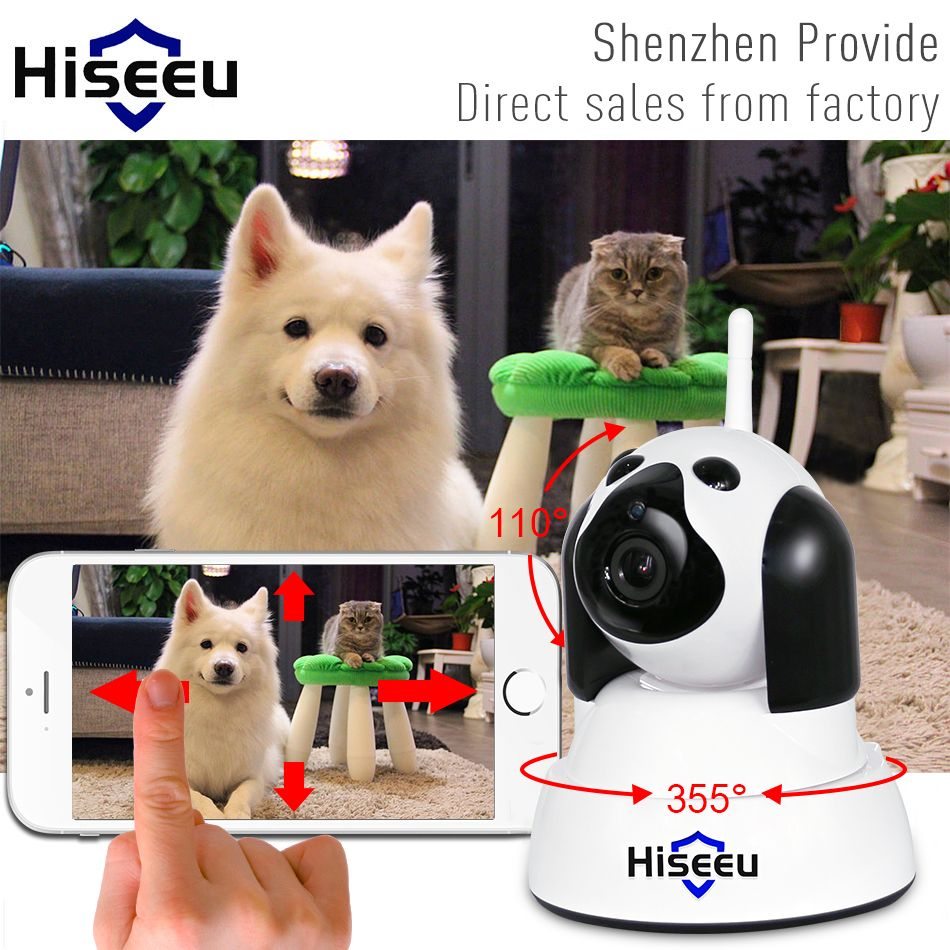 hiseeu Home Security IP Camera Wi-Fi Wireless Smart Pet Dog wifi Camera video Surveillance 720P Night CCTV Indoor Baby Monitor