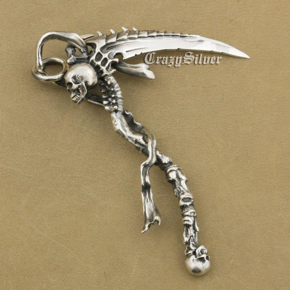 LINSION Riesige Schwer 925 Sterling Silber Sensenmann Schädel Sichel Scythe Herren Biker Rock Punk Anhänger TA22