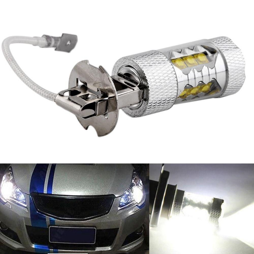 1 шт. высокое Мощность h3 свет автомобиля 50 Вт супер яркий светодиодный Белый Туман Хвост отложным воротником DRL головной автомобиля свет дне...