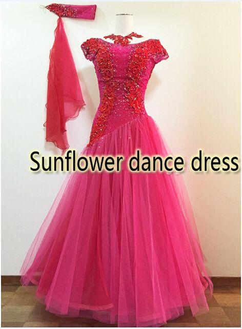 2016 neue Wettbewerb ballroom Standard tanz kleid, tanz kleidung, bühne tragen, ballom dance tragen, Walzer, ballroom Dance Kleid, rosa