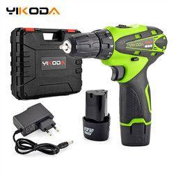 YIKODA 12V Electric Screwdriver Lithium Battery Rechargeable Parafusadeira Furadeira Multi-function Cordless Drill Power Tools