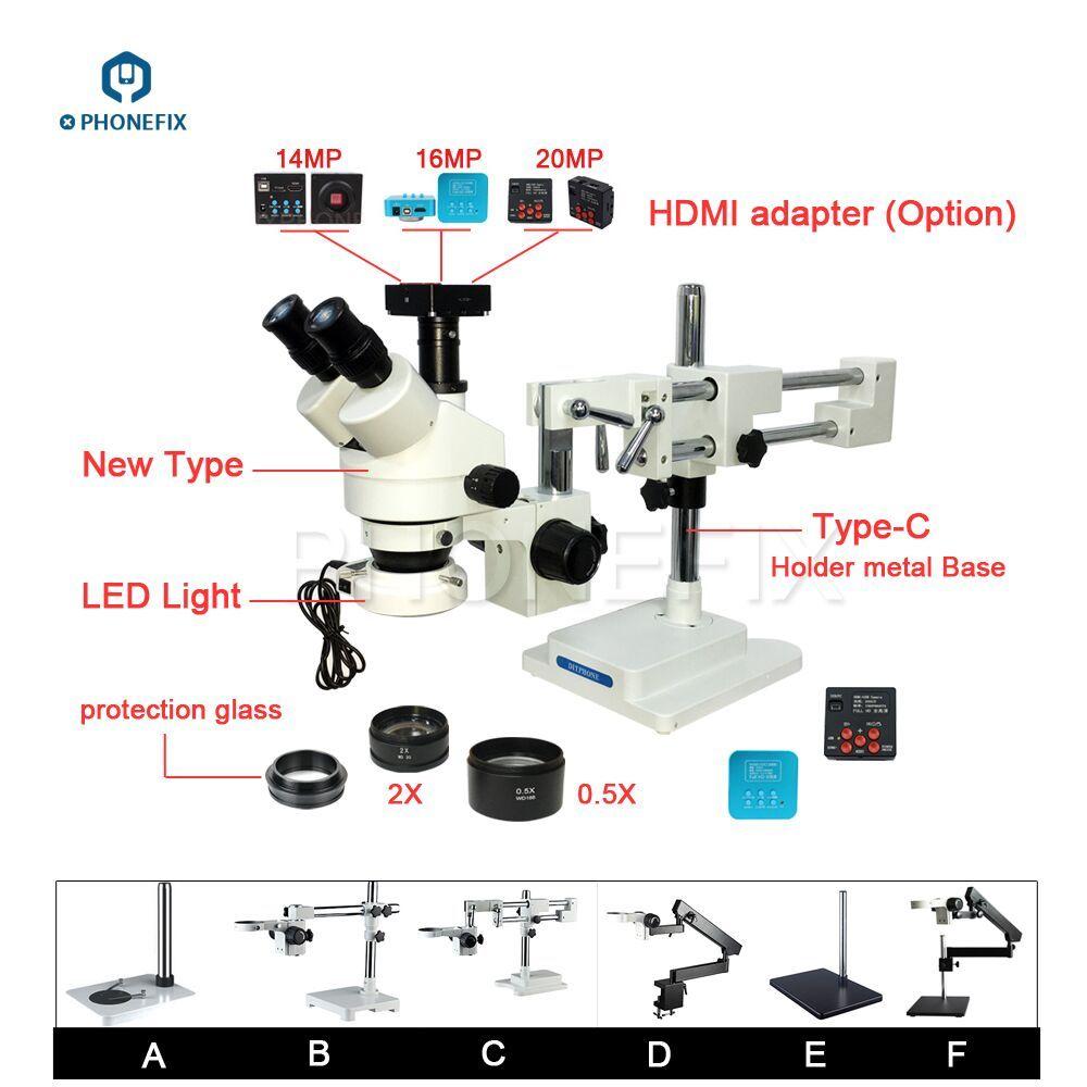 PHONEFIX 14 16 20MP HDMI Kamera 3,5-90X Stereo Zoom Mikroskop 144LED Ziel Objektiv Mikroskop Für Handy Reparatur