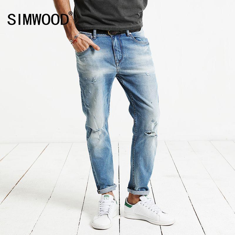 SIMWOOD 2018 spring New Hole Jeans Men Ankle-Length Pants Cotton Denim Trouser Male Slim Fit Plus Size High Quality NC017001