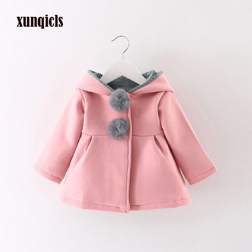 Xunqicls 2017 новая осенне-зимняя одежда для маленьких девочек пальто с капюшоном с заячьими ушками детская теплая куртка детская одежда верхняя ...