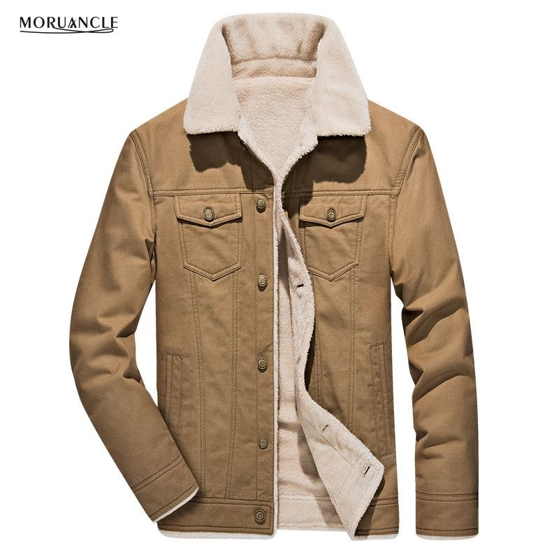 MORUANCLE New Winter Men's Warm Cargo Jackets Fleece Lined Coats For Male Outwear Wear Casaco Masculino Plus Size M-4XL