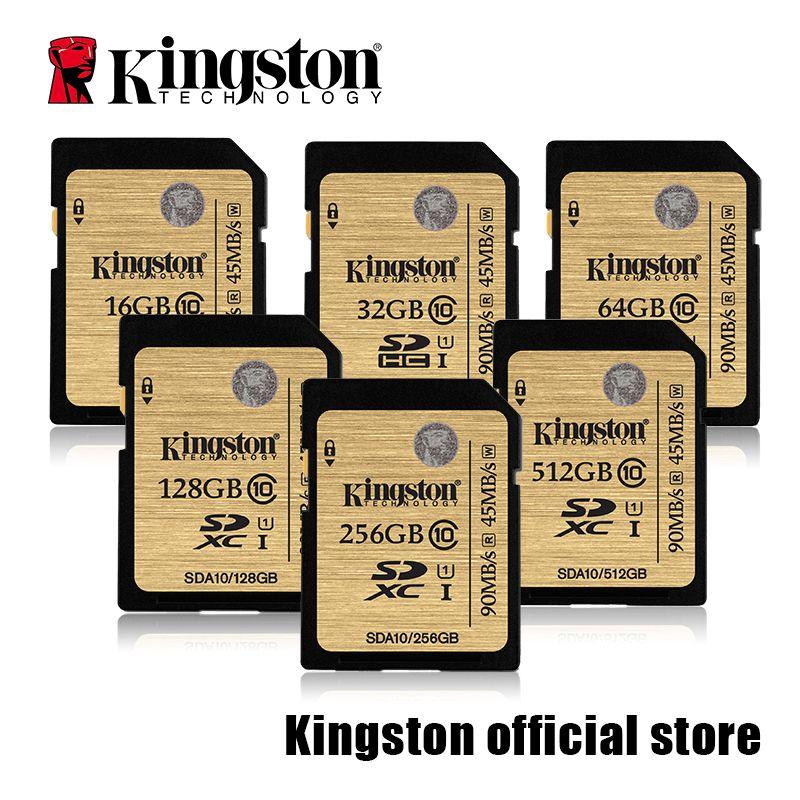 Kingston SDHC/SDXC Classe 10 UHS-I Carte SDA10-16GB/32 GB/64 GB/128 GB/256 GB/512 GB SD Caméra carte