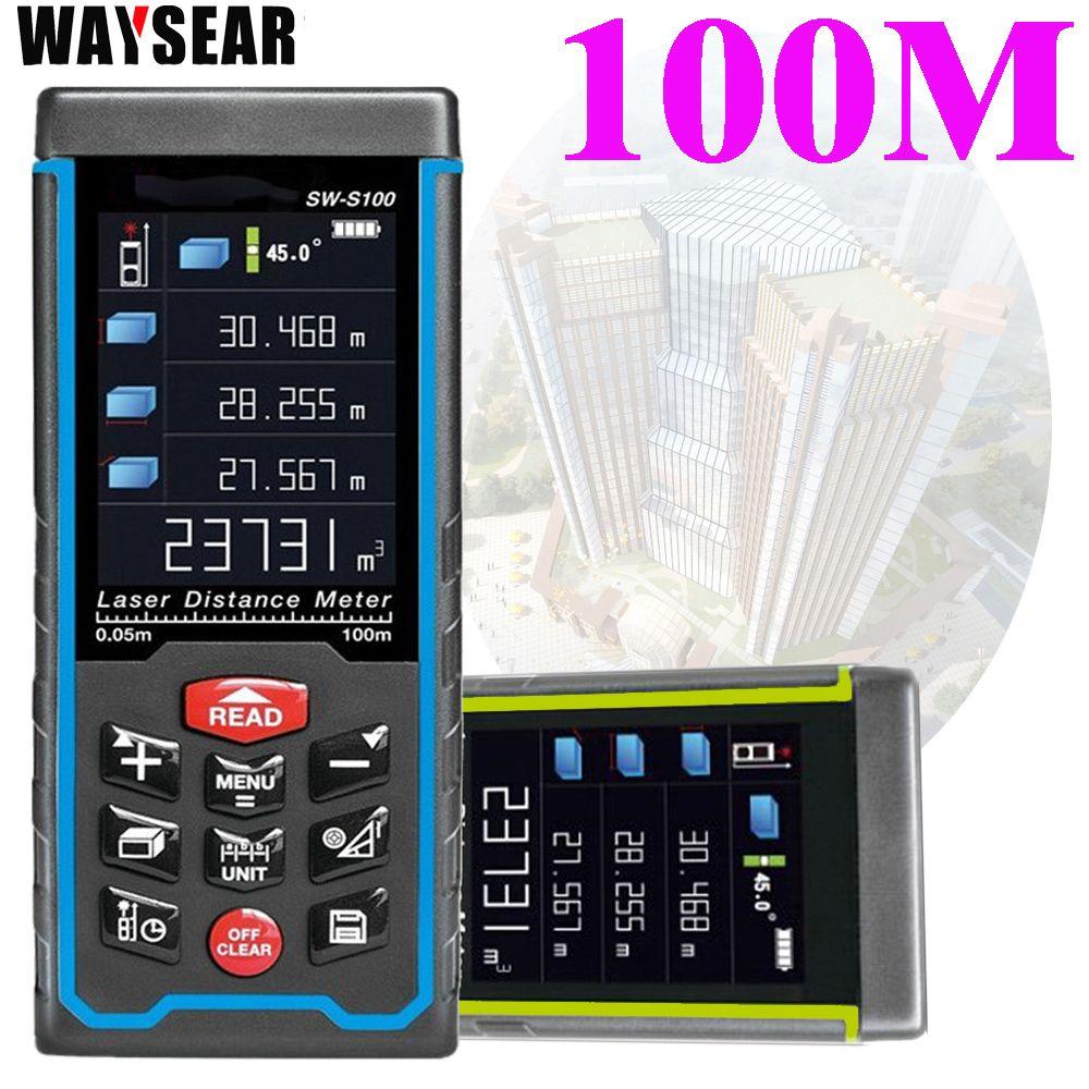 Livraison gratuite Laser gamme finder50M/70 m/100 m Couleur affichage Distance, hauteur, angle, volume testeur mesure outils De Construction