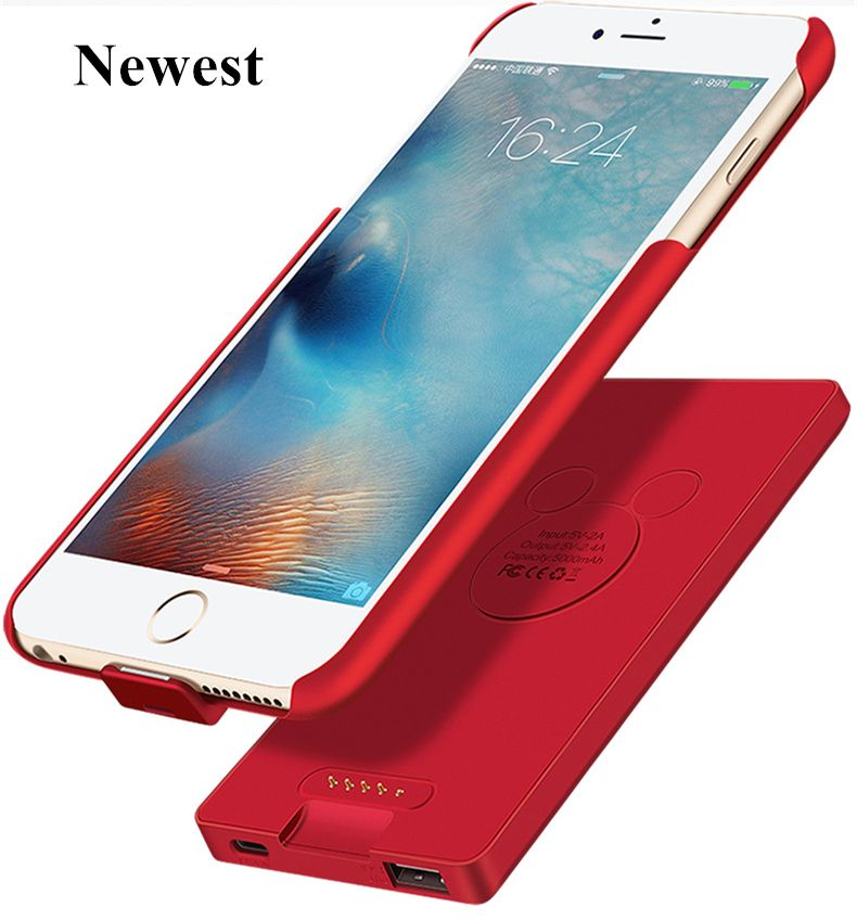 Newest For iphone 6 6s 7 Battery case Charger Smart 2A Output Magnet Adsorpt Power Bank Case For iphone 6 6s 7 Battery Case