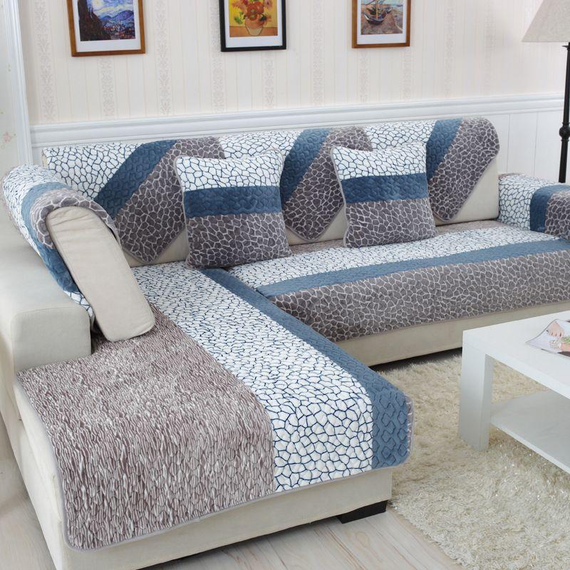 Housses de canapé pour salon en peluche rayure housse de canapé moderne minimaliste coin housse de siège canapé serviette