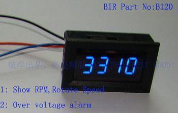 Free ship Blue LED Digital Tachometer Tacho Gauge fit Car Motorcycle show RPM + Battery Over voltage alarm CAR MOTOR AUTO METER