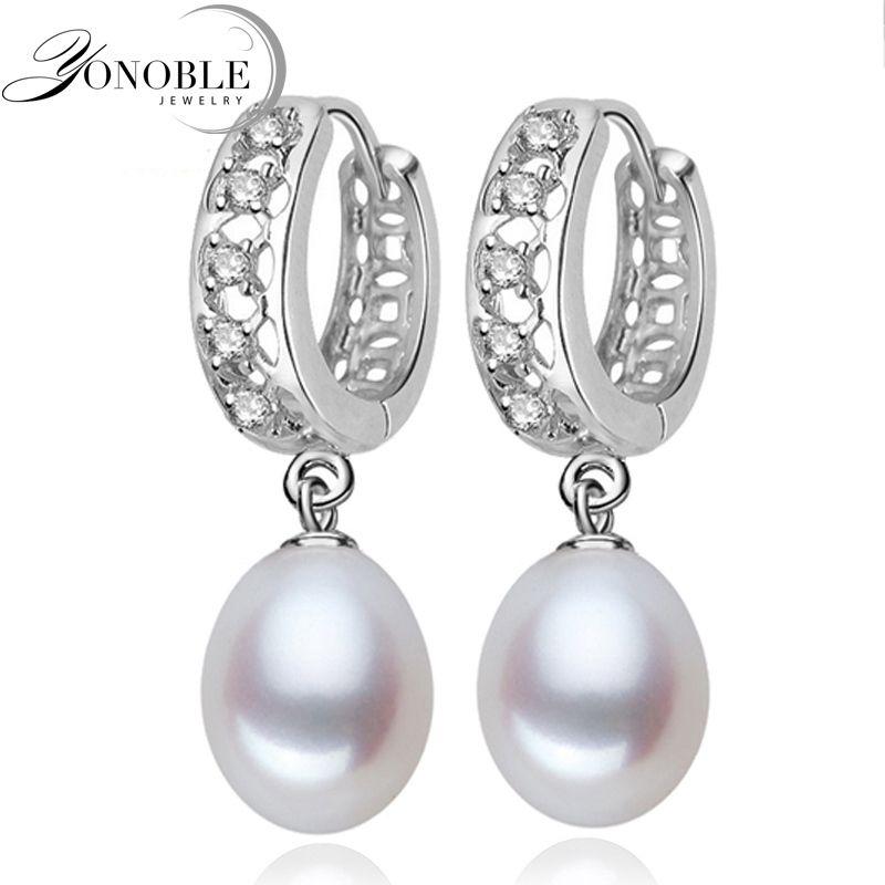 Real de agua dulce pendientes de perlas para las mujeres, plata de ley 925 pendientes de perlas de plata fina blanco perla pendientes joyería brincos perolas