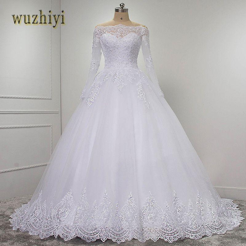 Wuzhiyi vestidos de novia Lange Ärmel spitze kleid ballkleid hochzeit kleider 2018 casamento Spitze hochzeit kleid Plus größe kleid