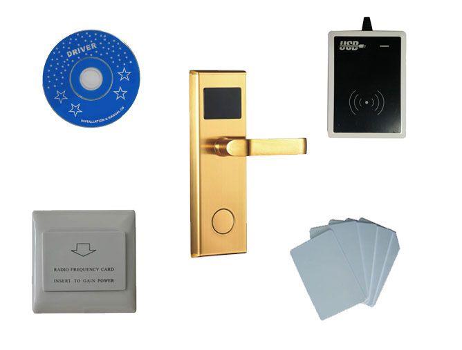 Hotel lock system kit ,Sample include T5577 hotel lock, usb encoder reader,energy saving switch, T5577 card ,sn:8001-kit