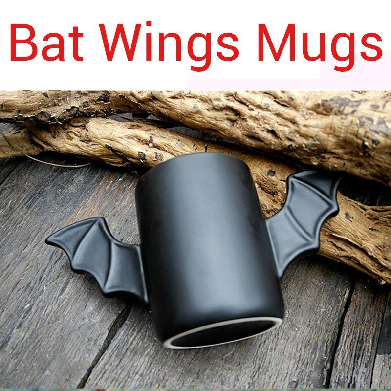 Cool Black Bat Wings Mugs Batman Cup Ceramic Mug Fly Bat Double Wings Hero Creative Birthday Festival Gifts for Friends Relative