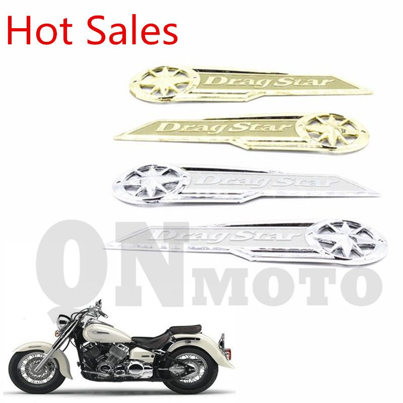 1 Pair Quality Motorcycle Golden 3D Gas Tank / Faring side Emblem Badge Decal Stiker For Vstar XVS XV 400 650 DragStar' Classic