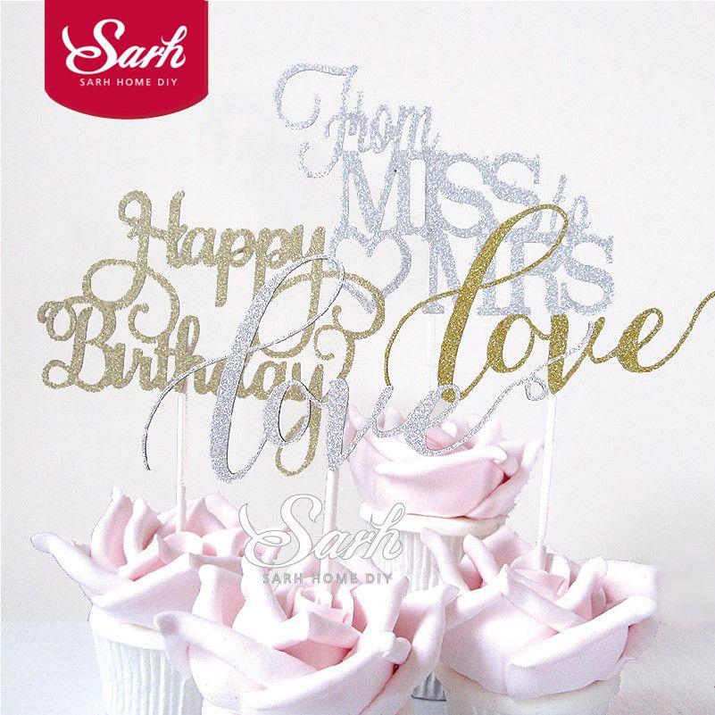 10 шт./лот Bling золотого и серебряного цвета mr Mrs мисс любовь с днем рождения торт Топпер украшения торта одежда для свадьбы, дня рождения прекр...