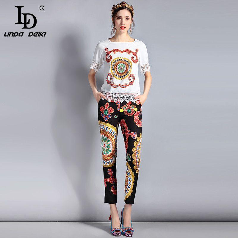 LD LINDA DELLA Mode Designer Costume Set femmes À manches Courtes Casual dentelle Blouse Tops et Vintage Imprimé Long Pantalon 2 Pièce Ensemble