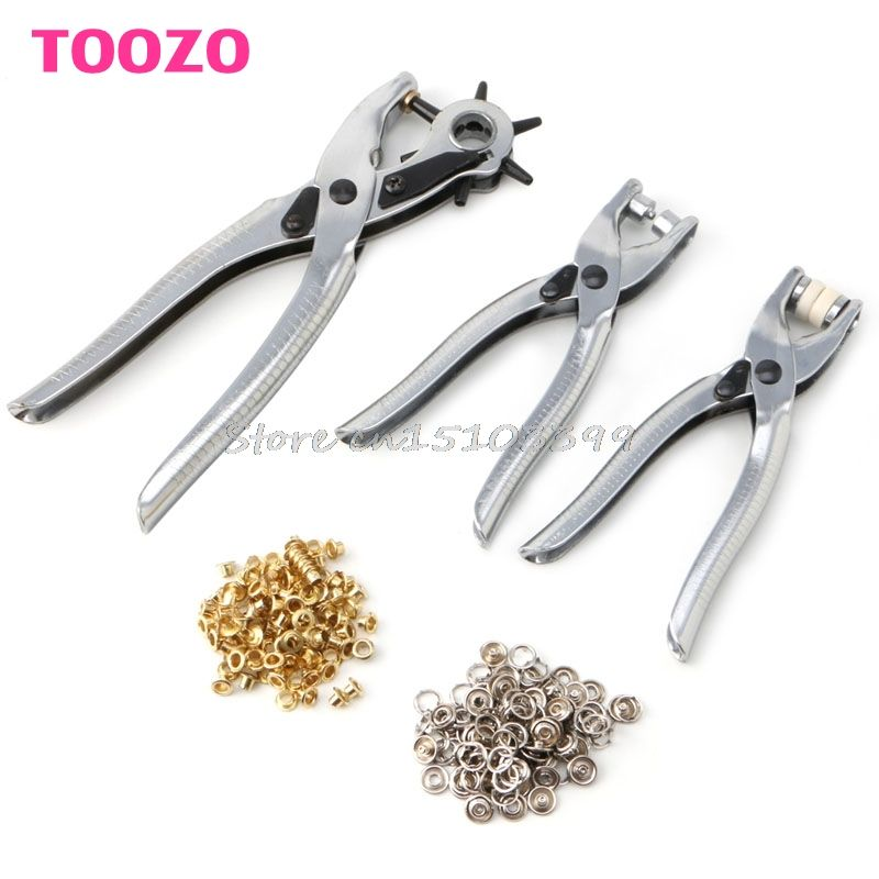 3in1 Card Leather Hole Punch +Eyelet Pliers +Snap Button Setter Punch Pliers Set G08 Drop ship