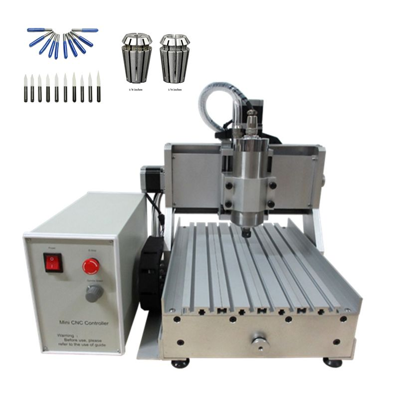 CNC 3020 3axis 1.5KW spindle ball srew cnc wood milling machine for metal stone marble with milling bits and collects