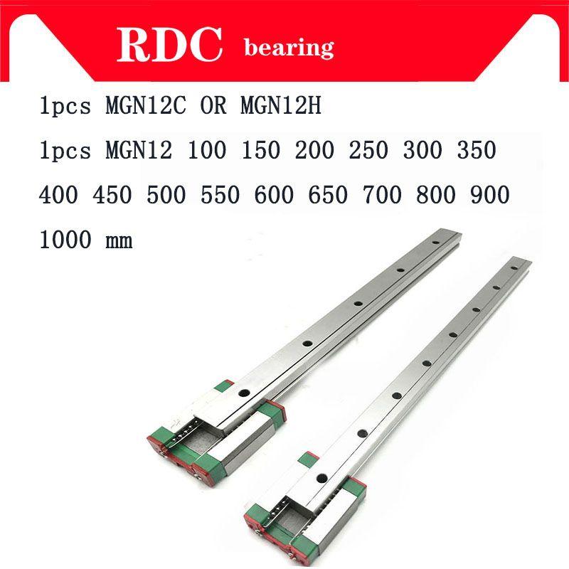 12mm Linéaire Guide MGN12 L = 100 200 300 350 400 450 500 550 600 700 800mm linéaire voie ferrée + MGN12C ou MGN12H Long transport linéaire